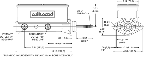 Wilwood Aluminum Tandem Master Cylinder w/ Pushrod Drawing
