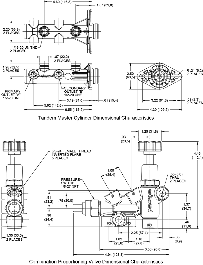 Wilwood Remote Tandem M/C Kit with Bracket and Valve Drawing