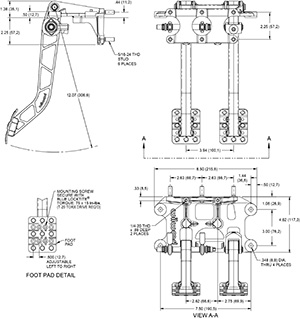 Swing Mount Tru-Bar Brake and Clutch  Pedal Drawing