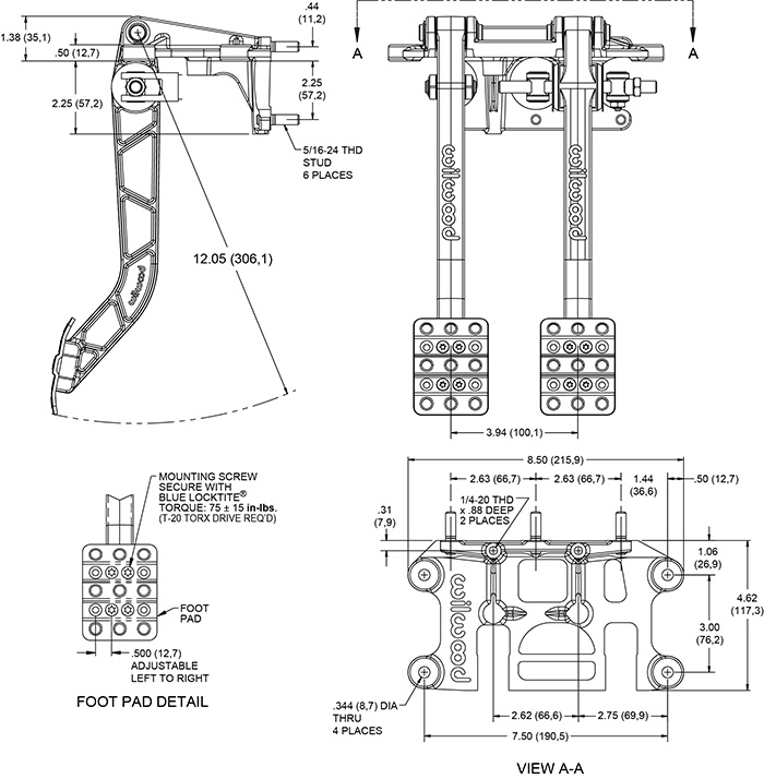 Swing Mount Brake and Clutch Pedal Drawing