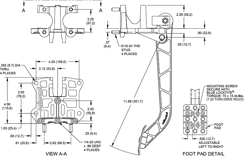 Reverse Swing Mount Brake and Clutch Pedal Drawing