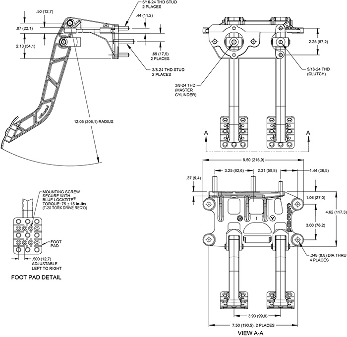 Swing Mount Tandem Brake and Clutch Pedal Drawing