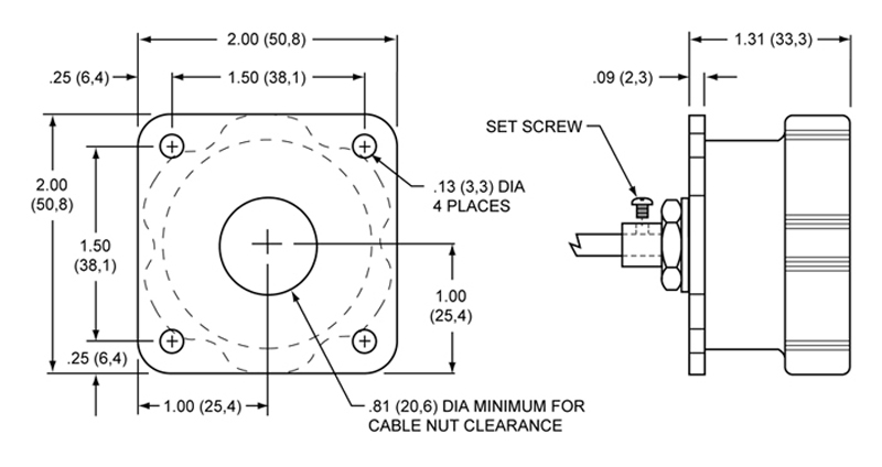 Remote adjuster for Wilwood and other pedals w/ balance bars with 3/8-24 threads. Drawing
