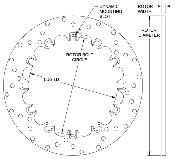 Drilled Steel Dynamic Mount Rotor Drawing