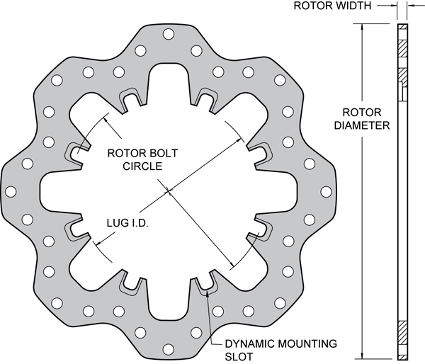 Drilled Steel Scalloped Dynamic Mount Rotor Drawing