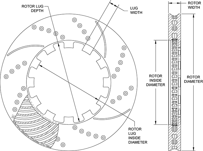 SRP Drilled Performance Rotor Drawing