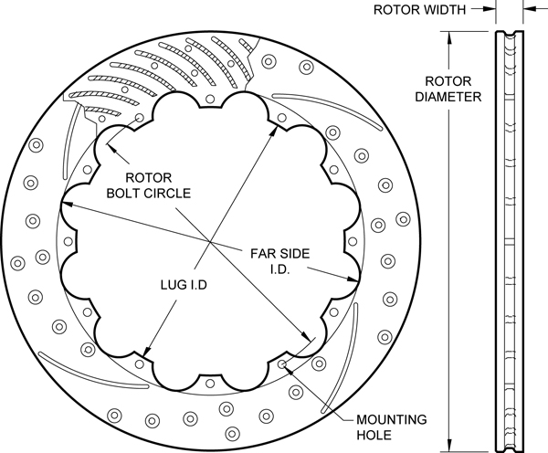SRP Drilled Performance Rotor Dimension Diagram