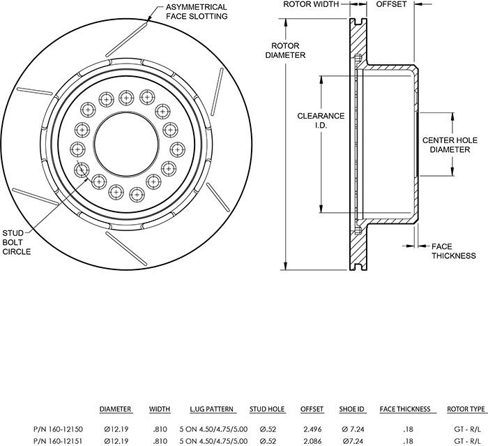 Ultralite HPS 32 Vane Rotor & Hat Dimension Diagram