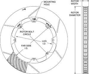 GT 48 Curved Vane Rotor Dimension Diagram