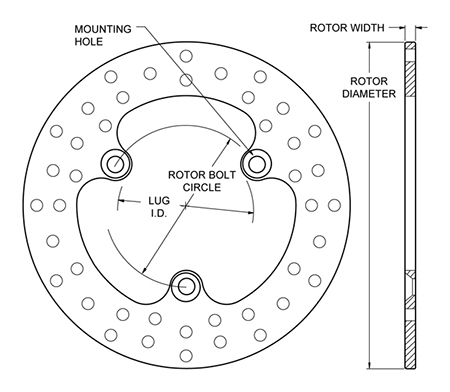 Drilled Steel Rotor Dimension Diagram