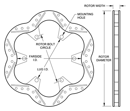 Super Alloy Scalloped Rotor Dimension Diagram