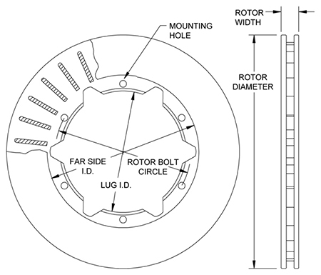 Ultralite HP 30 Vane Rotor Dimension Diagram