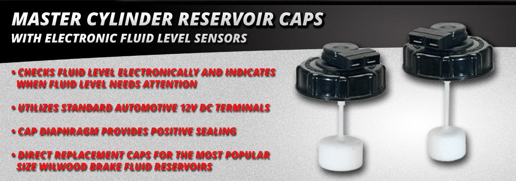 Master Cylinder Reservoir Caps with electronic Fluid Level Sensors