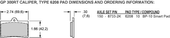 Pad Dimensions for the GP310 Motorcycle Front