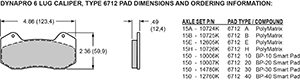 Pad Dimensions for the Forged Dynapro 6A Lug Mount