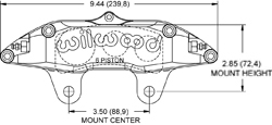 Billet Narrow Superlite 6 Lug Mount Caliper Drawing