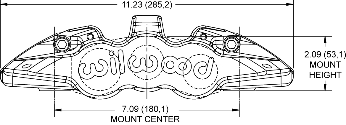 Aero6 Radial Mount Caliper Drawing