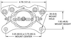 Billet Dynalite Single Caliper Drawing