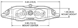 Billet Narrow Superlite 4 Caliper Drawing