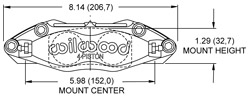Dynapro-13 Dust Seal Radial Mount Caliper Drawing