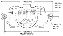 GM III Single Piston Floater Caliper Drawing