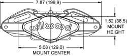 Powerlite 2R Radial Mount Caliper Drawing